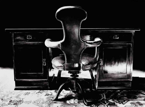Untitled (desk and chair, study room 1938), 2000. Graphite and charcoal on mounted paper, 68 x 93 inches (172.7 x 236.2 cm). MP D-410