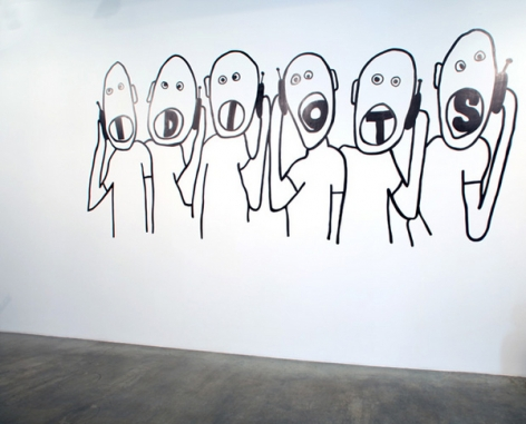 Idiots, 2009. Wall drawing, 92 x 204 inches (233.7 x 518.2 cm). MP 60