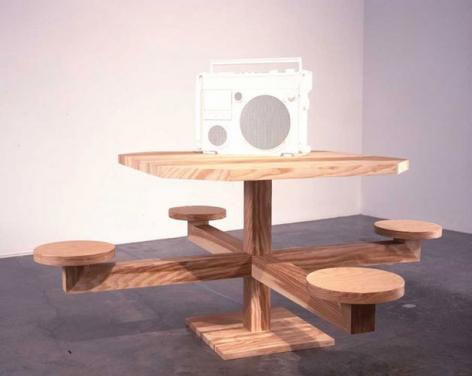 That's Just the Way That I Talk Yo, 2004. Wood, fiberglass musical track, 36 1/4 x 72 x 72 inches; boom box: 16 1/4 x 19 x 6 inches. MP 129