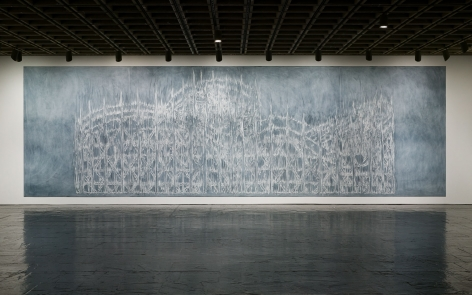 Ghoster, 1996. Paint & chalk (on wall), 156 x 545 inches (396.2 x 1384.3 cm).