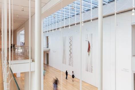 Installation view of Louise Lawler adhesive wall images in Andy in Chicago, Art Institute of Chicago
