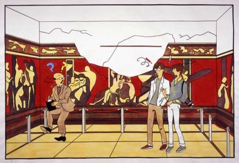 Cheyney and Eileen Disturb a Historian at Pompeii, 2005. Acrylic and ink on paper, 100 x 136 inches (254 x 345.4 cm). MP 6