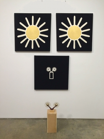 Untitled (tie rack and portraits), 1987. Acrylic on canvas, wood, tie rack,