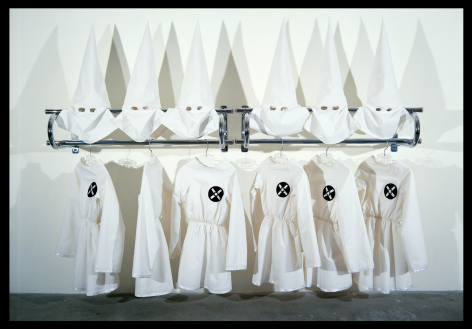 Gary Simmons installation of 6 KKK costumes on a rack