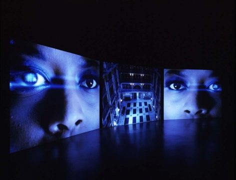 Baltimore, 2003. Three Screen DVD installation with sound, dimensions variable.