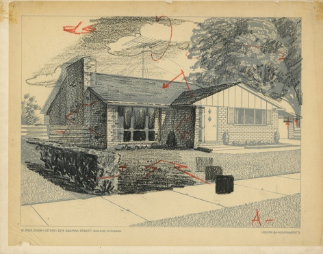 Mark Shaw drawing of a house with corrections