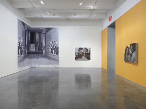 """John Miller, """"Here in the Real World."""" Installation view, 2015. Metro Pictures, New York."""