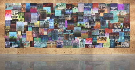 """Gary Simmons, """"Fight Night."""" Installation view, 2014. Metro Pictures, New York."""