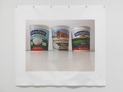 Untitled (Yogurts), 2018. Photograph on canvas, metal grommets, 53 x 60 inches (134.6 x 152.4 cm).