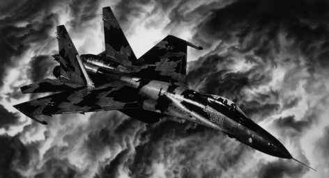 Untitled (Russian Jet), 2018. Charcoal on mounted paper, 65 1/16 x 120 inches (165.3 x 304.8 cm).