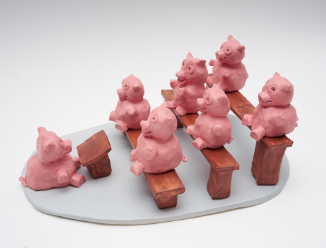 Pig School, 2017, 12 ceramic sculptures, 5.91 x 12.6 x 9.45 inches (15 x 32 x 24 cm)