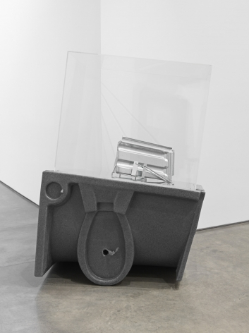 Roof Tile, 2018. HDPE, Galvanized steel roof tile, Galvanized steel toilet paper holders, Plexiglas box, Overall 54 1/2 x 36 3/4 x 21 1/2 inches (138.4 x 93.3 x 54.6 cm).