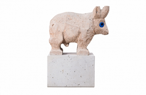 Olaf Breuning - Sad and worried animals / Bull sculpture on base
