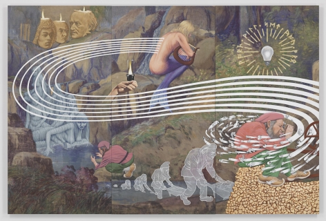 The Rhinegold's Curse, 2014. Acrylic on muslin in 3 parts,