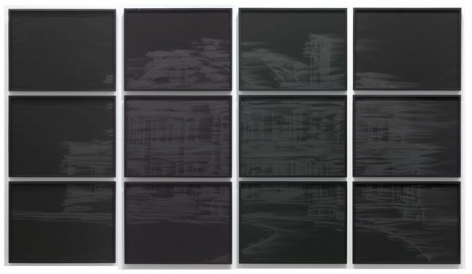 Burnt Grid, 2010. Pigment and charcoal on paper, 12 panels, 19 x 25 inches (each panel)(48.3 x 63.5 cm). MP D-388