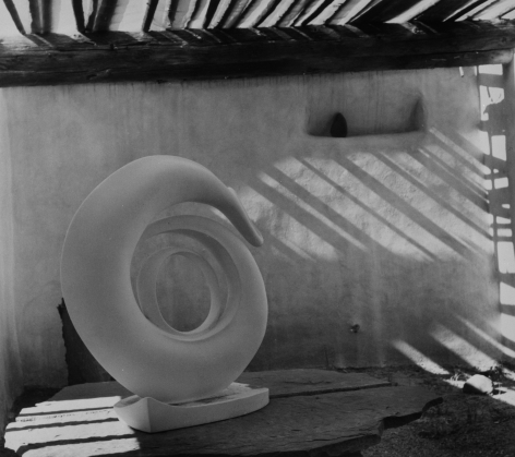 O'Keeffe Sculpture in the Roofless Room, Abiquiu House, 1981