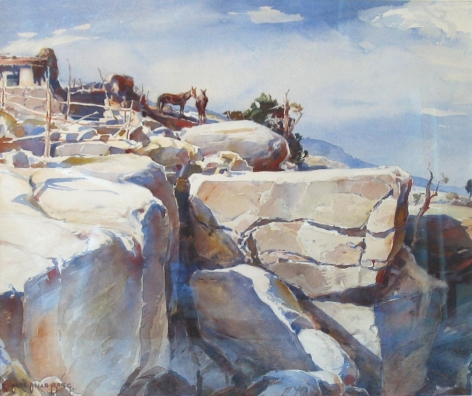 CARL OSCAR BORG AT THE EDGE OF A PUEBLO