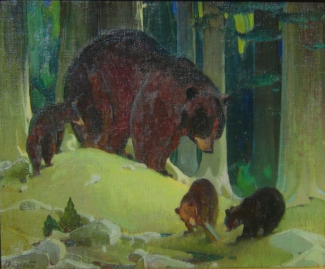W H BUCK DUNTON MOTHER BEAR THREE CUBS
