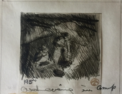 MAYNARD DIXON WET EVENING INK SKETCH