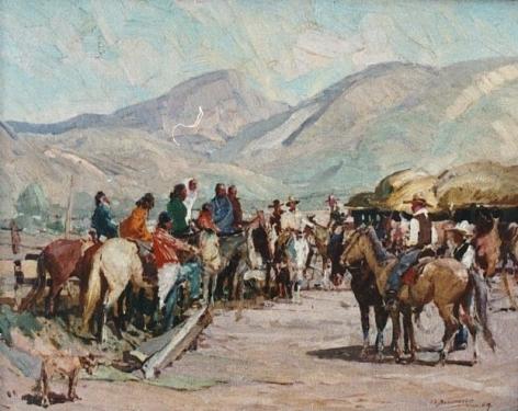 OSCAR BERNINGHAUS INDIANS TRADING HORSES