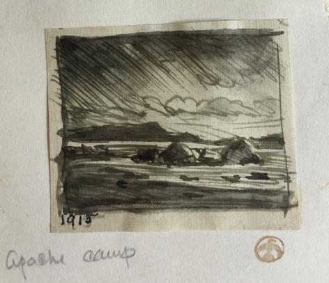 MAYNARD DIXON APACHE CAMP INK SKETCH