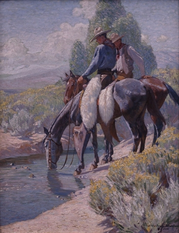 W H BUCK DUNTON WATERIN HORSES 32 X 35 INCHES