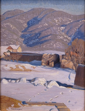 E.L. BLUMENSCHEIN TAOS IN WINTER