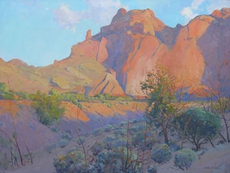 G. RUSSELL CASE LATE LIGHT ON CAMELBACK 30 X 40