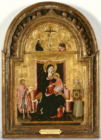 Pellegrino di Mariano Madonna and Child with Saint John the Baptist and Saint Bernardino of Siena, ca. 1450 Brooks Museum of Art, Memphis Nicholas Hall Art Gallery Dealer Old Masters