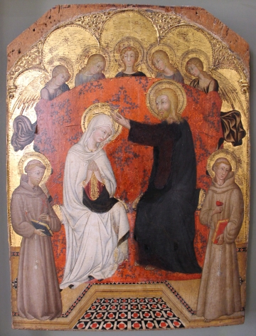 Pellegrino di Mariano Coronation of the Virgin with Angels and SS Francis and Anthony tempera and gold on panel Ca' d'Oro, Venice Nicholas Hall Art Gallery Dealer Old Masters