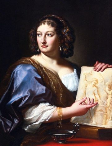 Carlo Maratti (1625-1713) Portrait of Francesca Gommi Maratti (1660-1711), Wife of the Painter who Holds a Drawing Depicting Venus Forging the Arms of Cupid