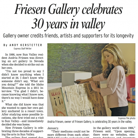 Friesen Gallery Celebrates 30 Years