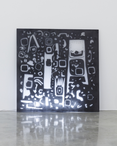 Group Show with Commonwealth and Council: Gala Porras-Kim, Mesoamerican Negative Space 1 (2017). Plexiglas, graphite, fluorescent light, 48 x 47.5 x 0.75 inches (121.9 x 120.7 x 1.9 cm)