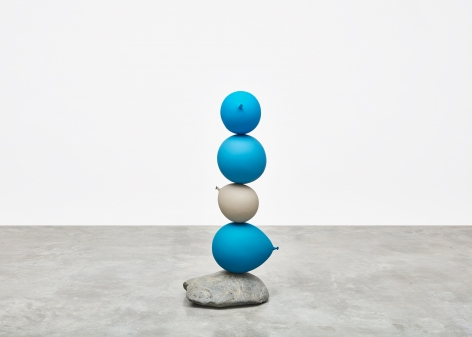 Gimhongsok (b. 1964), Untitled (Short People), Blue, Blue, Grey, Blue, 2018, Cast bronze, stone, Sculpture, 48.03 x 21.65 x 16.93 inches, 122 x 55 x 43 cm, Gimhongsok: Dwarf, Dust, Doubt at Tina Kim Gallery