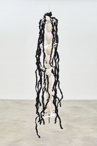 Newsroom Portable Keeper, 2012 Buoys, plaster bandage, metal, synthetic hair, thread 79.92 x 15.75 inches 203 x 40 cm,