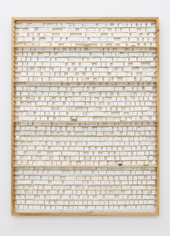 Group Show with Commonwealth and Council: Gala Porras-Kim, For Learning Zapotec Verbs (2012). Wood, pencil, paper, wire, found rocks, 30 x 37.5 x 2.5 inches (76.2 x 95.3 x 6.4 cm)