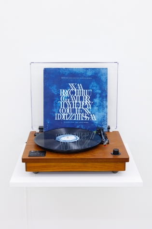 Group Show with Commonwealth and Council: Gala Porras-Kim, Whistling and Language Transfiguration (2012). LP album in cyanotype print, 12 x 12 inches (30.5 x 30.5 cm)