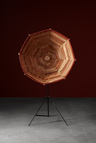 Parabolic Satellite , 2015 Plywood, light stand 78.74 x 51.18 x 19.69 inches 200 x 130 x 50 cm Dimensions variable,