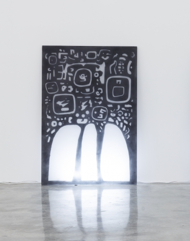 Group Show with Commonwealth and Council: Gala Porras-Kim, Mesoamerican Negative Space 2 (2017). Plexiglas, graphite, fluorescent light, 48 x 32.75 x 0.75 inches (121.9 x 83.2 x 1.9 cm)