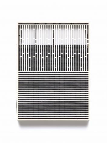 Suki Seokyeong Kang,Mat 55 x 40 #18-38, 2018-19. Painted steel, woven dyed Hwamunseok, thread, wood frame, brass bolt, leather scraps (16.54 x 22.44 x 1.97 inches).