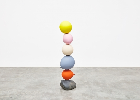 Gimhongsok (b. 1964), Untitled (Short People), Yellow, Pink, Cream, Blue, Orange, 2018, Cast bronze, stone, Sculpture, 44.09 x 13.98 x 14.17 inches, 112 x 35.5 x 36 cm, Gimhongsok: Dwarf, Dust, Doubt at Tina Kim Gallery