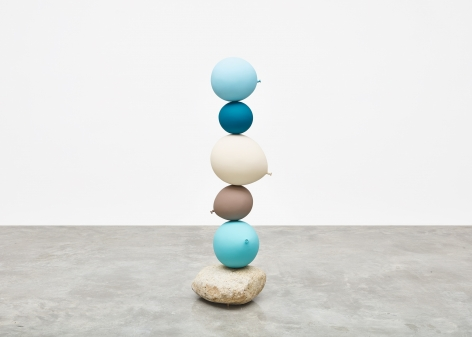 Gimhongsok (b. 1964) Untitled (Short People) , Light Blue, Blue, Beige, Grey, Light Blue, 2018 Cast bronze, stone 50.79 x 16.54 x 17.32 inches 129 x 42 x 44 cm