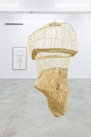 Group Show with Commonwealth and Council: Gala Porras-Kim, One clump of raffia reconstruction (2016). Graphite on cotton paper, raffia, artist's frame, sculpture: 47 x 35 x 33 in; drawing: 60.75 x 36.75 x 2 in