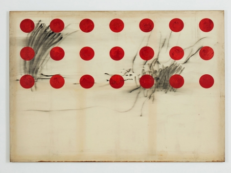 Untitled, 1990.Mixed media on canvas.71 1/2 × 89 2/5 in (181.5 × 227 cm)
