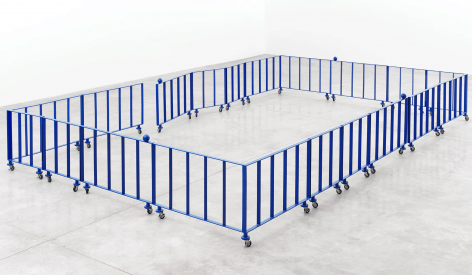 East West South North, 2007.Steel, polyurethane paint, casters.196.85 x 236.22 x 24.8 inches (500 x 600 x 63 cm)