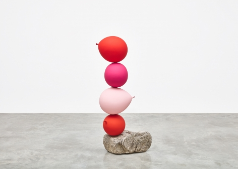 Gimhongsok (b. 1964), Untitled (Short People), Red, Pink, Pink, Red, 2018 Cast bronze, stone, Sculpture, 52.36 x 12.99 x 11.81 inches, 133 x 33 x 30 cm, Gimhongsok: Dwarf, Dust, Doubt at Tina Kim Gallery