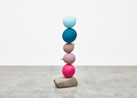 Gimhongsok (b. 1964), Untitled (Short People) , Light Blue, Blue, Grey, Purple, Pink, 2018, Cast bronze, stone, Sculpture, 51.57 x 17.72 x 12.8 inches, 131 x 45 x 32.5 cm, Gimhongsok: Dwarf, Dust, Doubt at Tina Kim Gallery