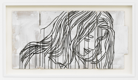 Study for the Red Portrait by Ghada Amer, 2017, Acrylic and ink on cardboard, Painting, Tina Kim Gallery