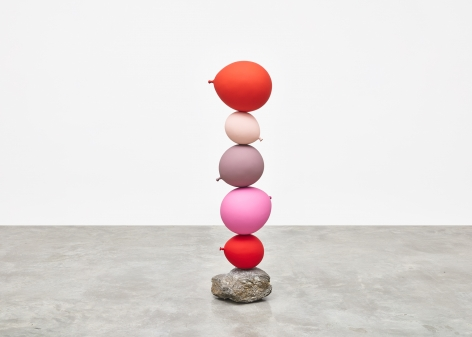 Gimhongsok (b. 1964), Untitled (Short People), Red, Pink, Pink, Pink, Red, 2018, Cast bronze, stone, Sculpture, 50.39 x 13.78 x 12.6 inches, 128 x 35 x 32 cm, Gimhongsok: Dwarf, Dust, Doubt at Tina Kim Gallery