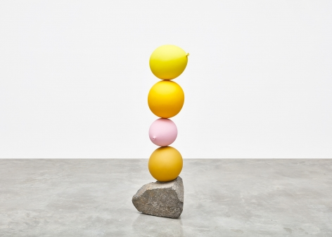 Gimhongsok (b. 1964), Untitled (Short People), Yellow, Yellow, Pink, Yellow, 2018, Cast bronze, stone, Sculpture, 49.21 x 14.17 x 15.75 inches, 125 x 36 x 40 cm, Gimhongsok: Dwarf, Dust, Doubt at Tina Kim Gallery